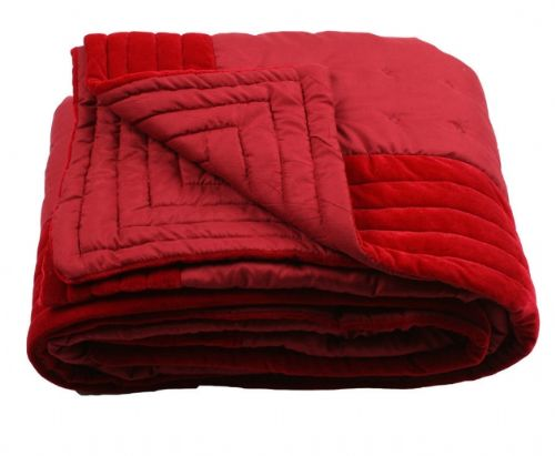 BURGUNDY COLOUR DESIGNER QUILTED MICROFIBRE VELVET TEXTURED THROW